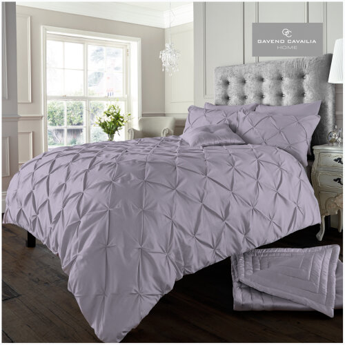 (Double, Alford Iris-Lilac) Easy Care Pintuck Duvet Cover Quilt Set Cosy Bedding