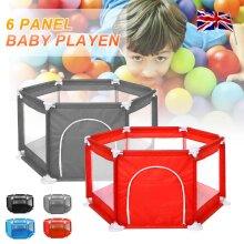 Baby Playpen 6 Sides with Round Zipper Door Play