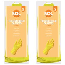 4 Pairs of Large Household Cleaning Gloves   Latex Rubber