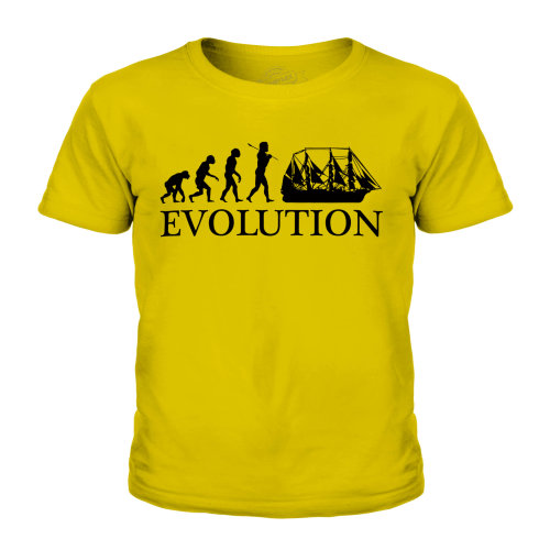 (Gold, 7-8 Years) Candymix - Argosy Evolution Of Man - Unisex Kid's T-Shirt