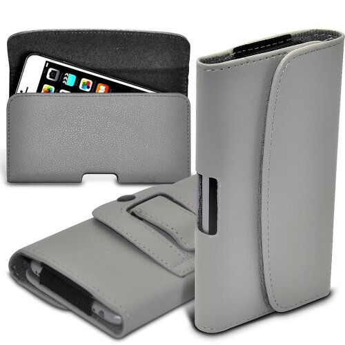 Honor 20e Gray XLarge Horizontal Faux Leather Belt Holster Pouch Cover Case
