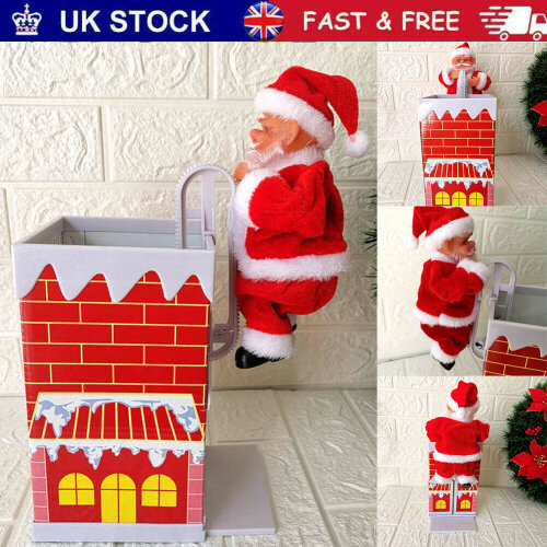 Electric Santa Claus Climbing Chimney Christmas Xmas Music Figurine Party Decor