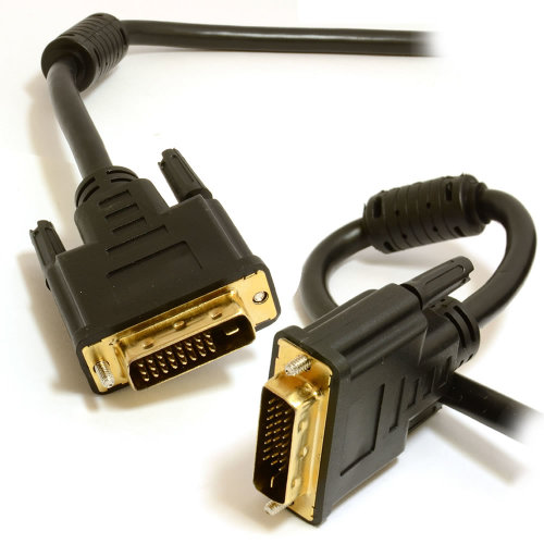 kenable DVI D Dual Link with Ferrite Cores Male to Male Cable Gold  1m