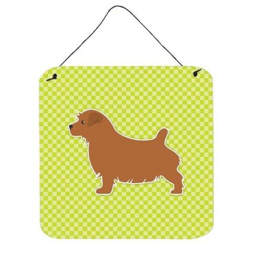 Norfolk Terrier Checkerboard Green Wall or Door Hanging Prints