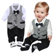 Baby Boy Wedding Christening Bow Tie Formal Tuxedo Romper Outfit