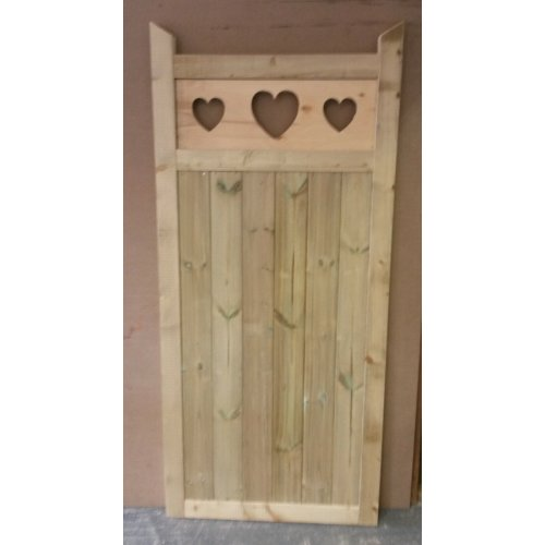 Wooden Garden Gate, Heart Cut Out - 6ft H - UP TO 8 WEEK WAIT
