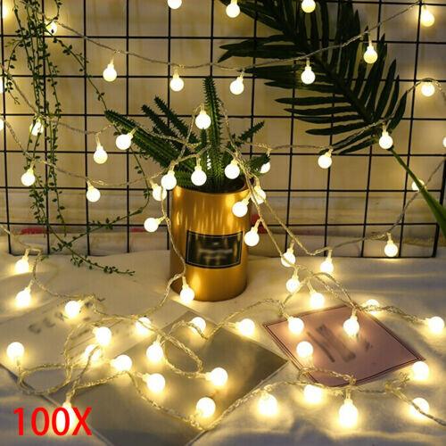 100 LED Globe Ball Outside Garden Lights String Fairy Decor 33ft