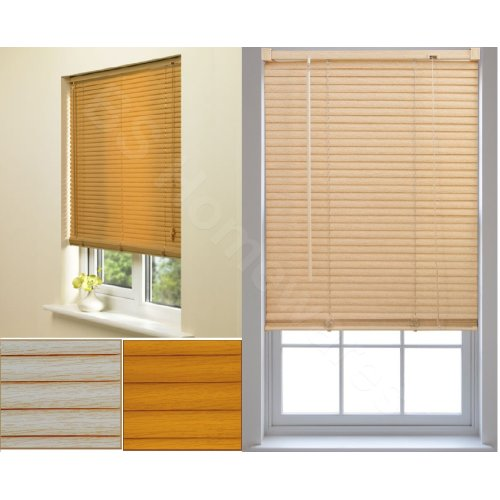 Wooden Grain Effect Venetian Window Blinds Easy Fit Trim-able blind Curtains Shutter