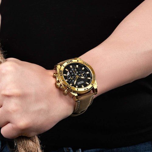 MEGIR Men's Analog Fashion Casual Military Chronograph Rectangular Luminous Quartz Wrist Watch with Leather Strap for Business Work & Sports