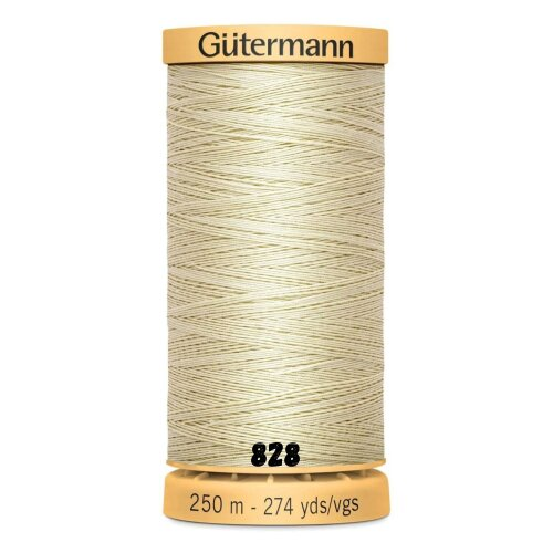 (828, 1 x 250m Spool) 100% Natural Cotton Thread By Gutermann For Sewing And Quilting - 250m Spools
