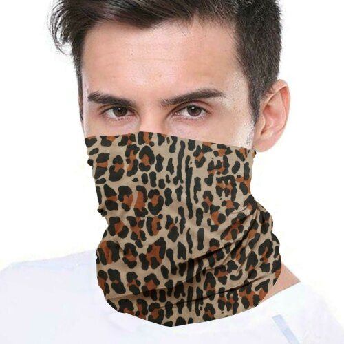 (Leopard) Bandana Face Covering Mask Biker Tube Snood Scarf Neck Cover