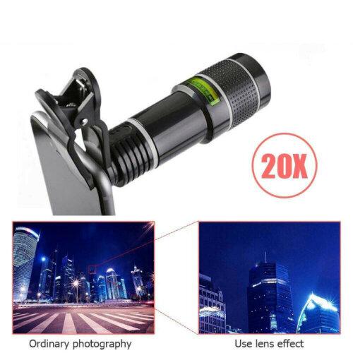 Universal Mobile Phone Camera Zoom Lens Kit Clip on 20X Telescope Telephoto UK