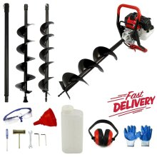 NEW 65CC Petrol Earth Digger Fence Post Hole Borer+3 Drills+Extension