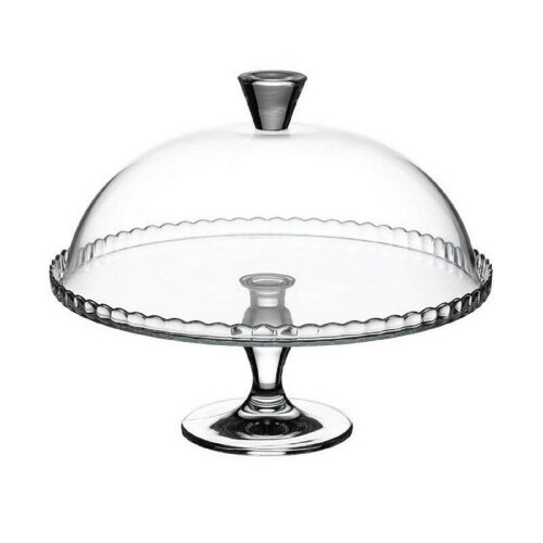 Pasabahce Clear Glass Cake Plate, Cupcake Display Footed With Dome Lid