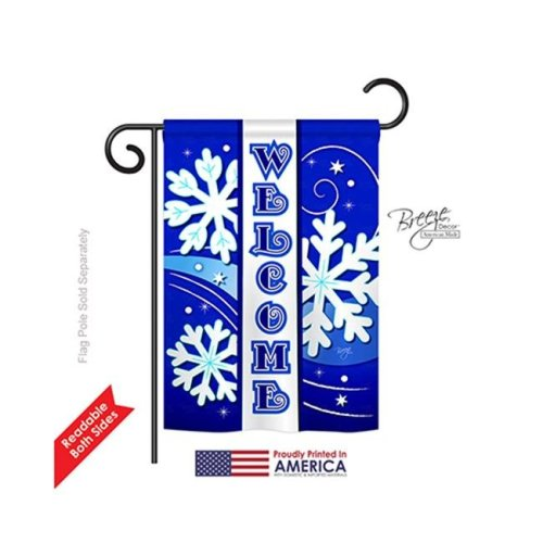 Breeze Decor 64074 Winter Welcome Winter 2-Sided Impression Garden Flag - 13 x 18.5 in.