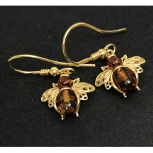 Amber bee drop earrings, gold on solid Sterling silver.