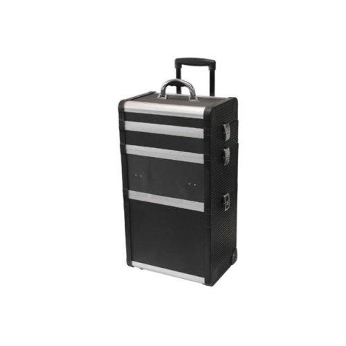 TZ Case ABM-301T BD Wheeled Three Section Beauty Case, Black Dot