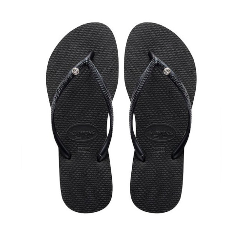 (Size 6.5) Havaianas Women's Black Crystal Flip Flops