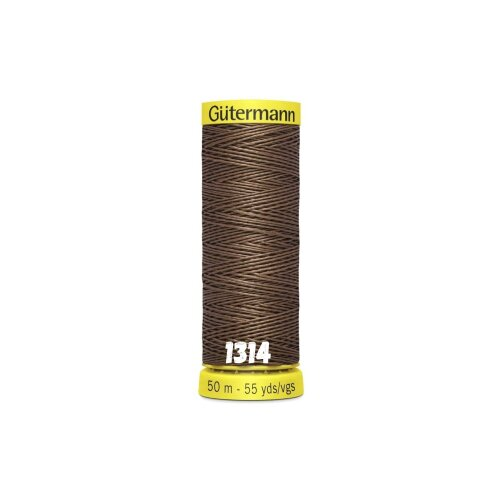 (1314 - Brown, 1 x 50m Spool) Gutermann Linen Thread for Hand Sewing of Heavyweight Fabric, Buttonholes, Clothes and Textile Repair