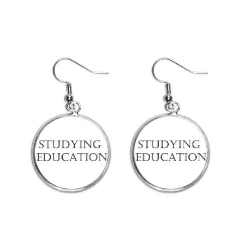 Short Phrase Studying Education Ear Dangle Silver Drop Earring Jewelry Woman