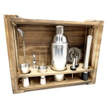 Cocktail Shaker 11-Piece Professional Bartender Kit with Wood Stand