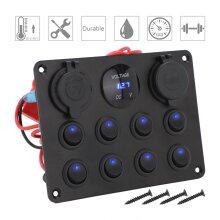 8 Gang Campervan LED Light Switch Control Panel Voltmeter USB Charger