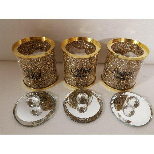 (Gold) Crushed Glass Diamante Crystal Filled TEA COFFEE SUGAR Storage Jar