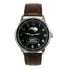LAND ROVER Mens Stainless Steel BLACK Dial BROWN Leather Strap Sport CAR Watch