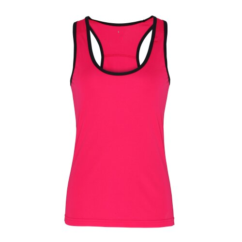 (Hot Pink/Black, XL) TriDri Womens Panelled Fitness Gym Running Sports Fitness Workout Vest Top Tee