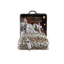 Dreamland 16651 Relaxwell Deluxe Leopard Faux Fur Heated Throw