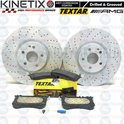 FOR MERCEDES A45 AMG FRONT DRILLED GROOVED BRAKE DISCS TEXTAR PADS WIRE SENSORS