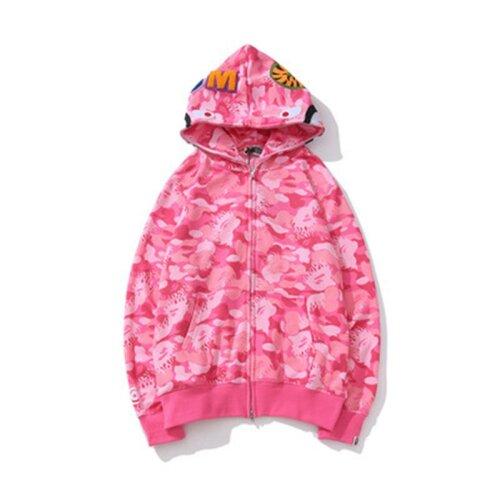 (Pink, S) Bape Adult Camouflage Zip Up Jacket Shark Hoodie