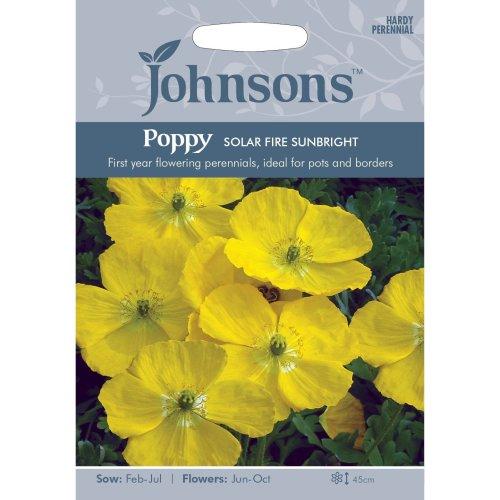 Johnsons Seeds - Pictorial Pack - Flower - Poppy Solar Fire Sunbright - 200 Seeds