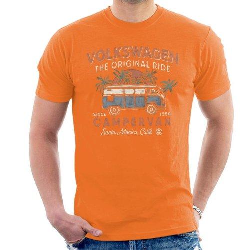 (Large, Orange) Official Volkswagen The Original Ride Campervan Men's T-Shirt