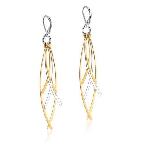 UMtrade Womens Stainless Steel Cross Leaf Long Dangle Earrings Silver Gold