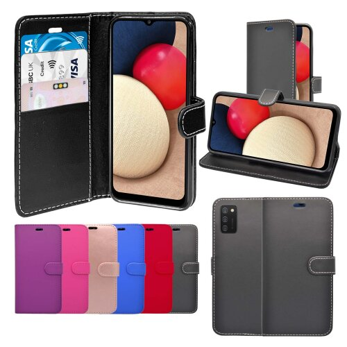 (Black) For Samsung Galaxy A02s Wallet Flip PU Leather Stand Card Slot Pouch Cover