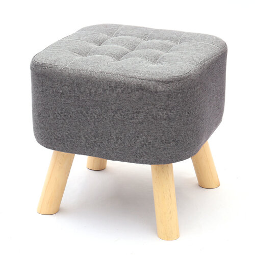 40CM Grey Square Linen Footstool Ottoman