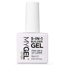 MYGEL by Mylee 5 in 1 Builder Gel (Hard Gel) (Clear) 15ml, UV/LED Strengthening Base Nail Polish Coat for Hard Nails Tips & Extensions, Nail Art, De