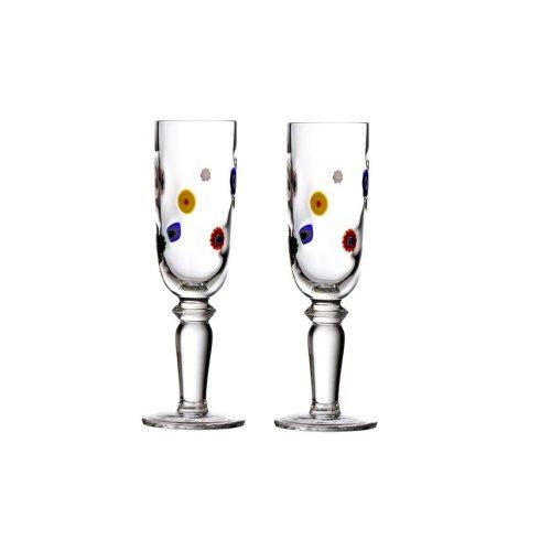 2pc Millefiori Style Champagne Flutes Set