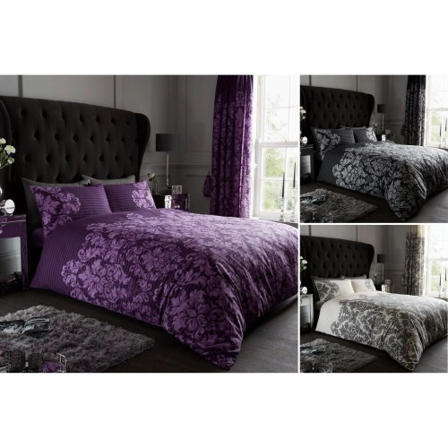 Luxurious Quality /& Modern Empire Damask Duvet Quilt Cover Bedding Set All Sizes