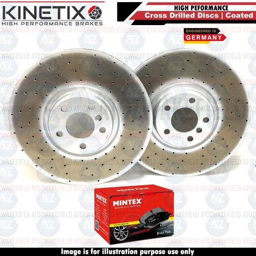 FOR BMW X6 M50d E71 E72 FRONT DRILLED BRAKE DISCS MINTEX BRAKE PADS SET 395mm