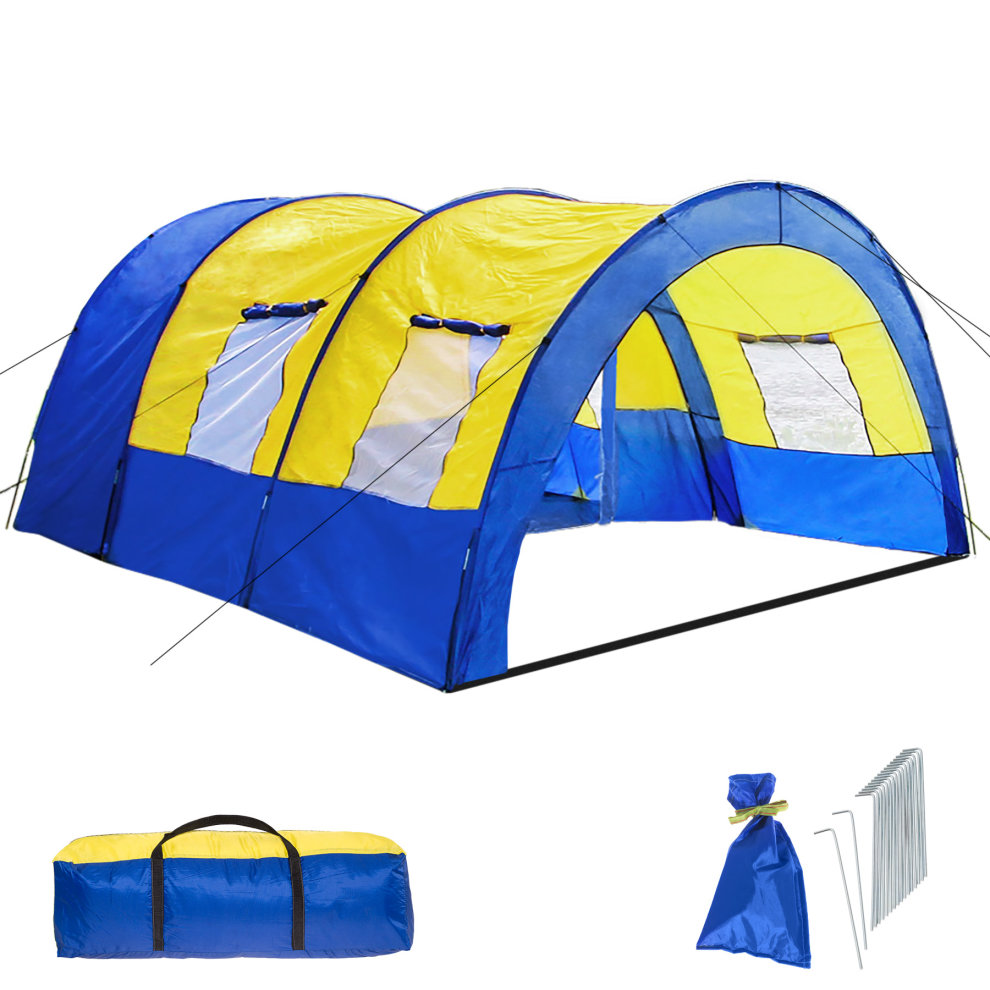 6 person air tent grey and yellow