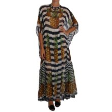 Blue White Silk Striped Pineapple Tunic Gown Maxi Dress