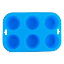 6 Cavity Cupcake Mould Tray Non Stick Silicone Mold With Hanging Holes