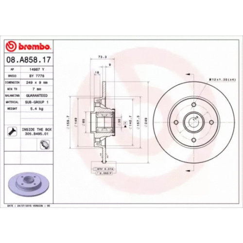 Rear Pair (2x) of Brake Disc BREMBO 08.A858.17