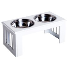 PawHut Raised Dog Bowls Pet Feeder Elevated Double Stainless Steel Water White