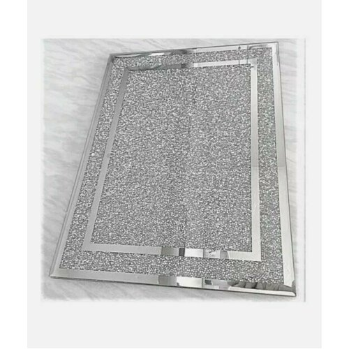 Crystal Crushed Diamond Chopping Board Silver Glass Worktop Place Mat