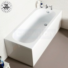 Single Ended Straight Modern Bath Tub White Acrylic Bathroom Panel
