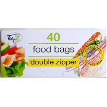 Tidyz 40 Double Zipper Food & Freezer Bags Easy Seal Resealable X 12