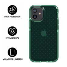 Tech21 Evo Check for Apple iPhone 12 Mini 5G - Germ Fighting Antimicrobial Phone Case Cover with 3.6 Meter Drop Protection - Midnight Green